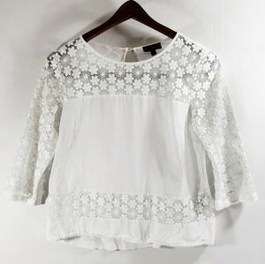 TopShop Daisy Lace Sleeve Cotton Crop Top Size 4